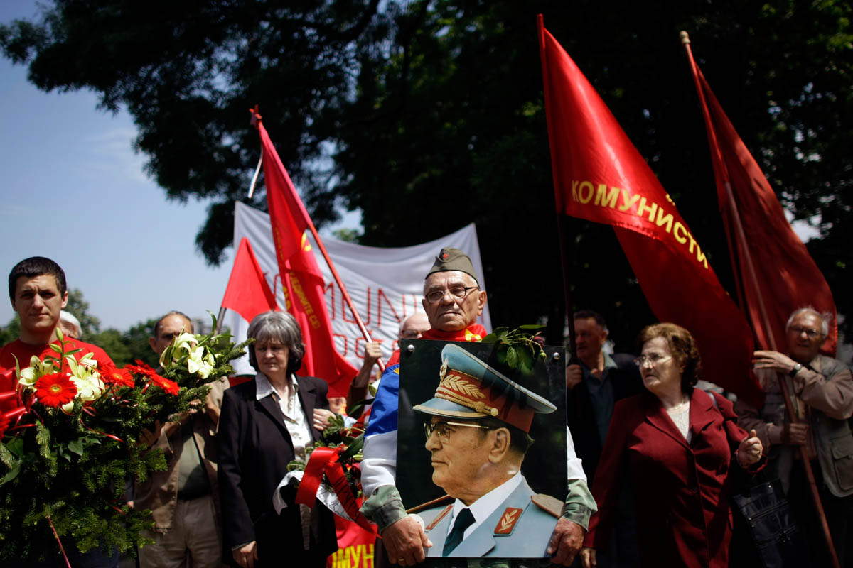 followers of the late yugoslav dictator, josip broz tito, gather in front of his memorial center, belgrade, serbia, 2010.
