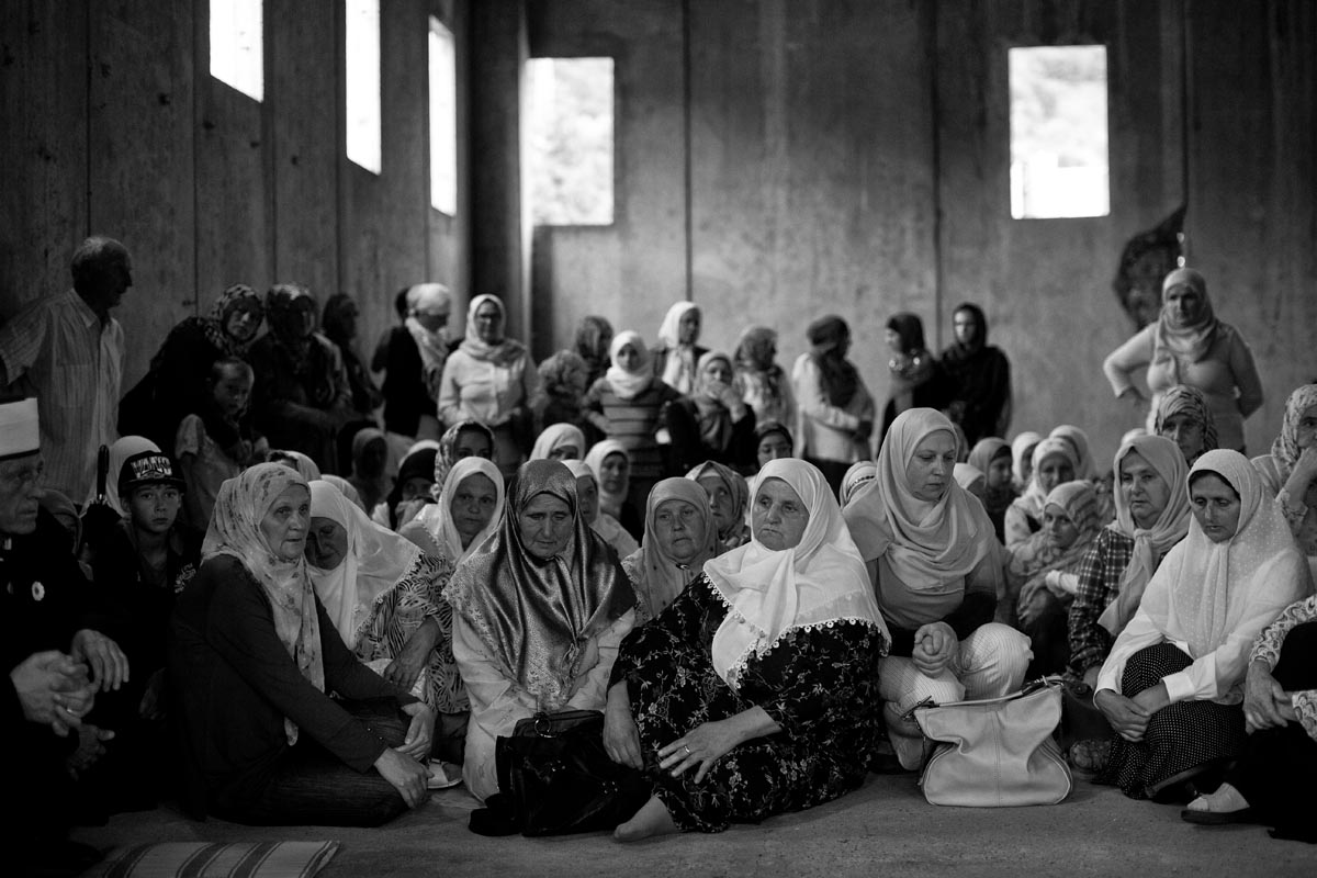 relatives of victims gather at the potocari memorial center, bosnia, 2015.