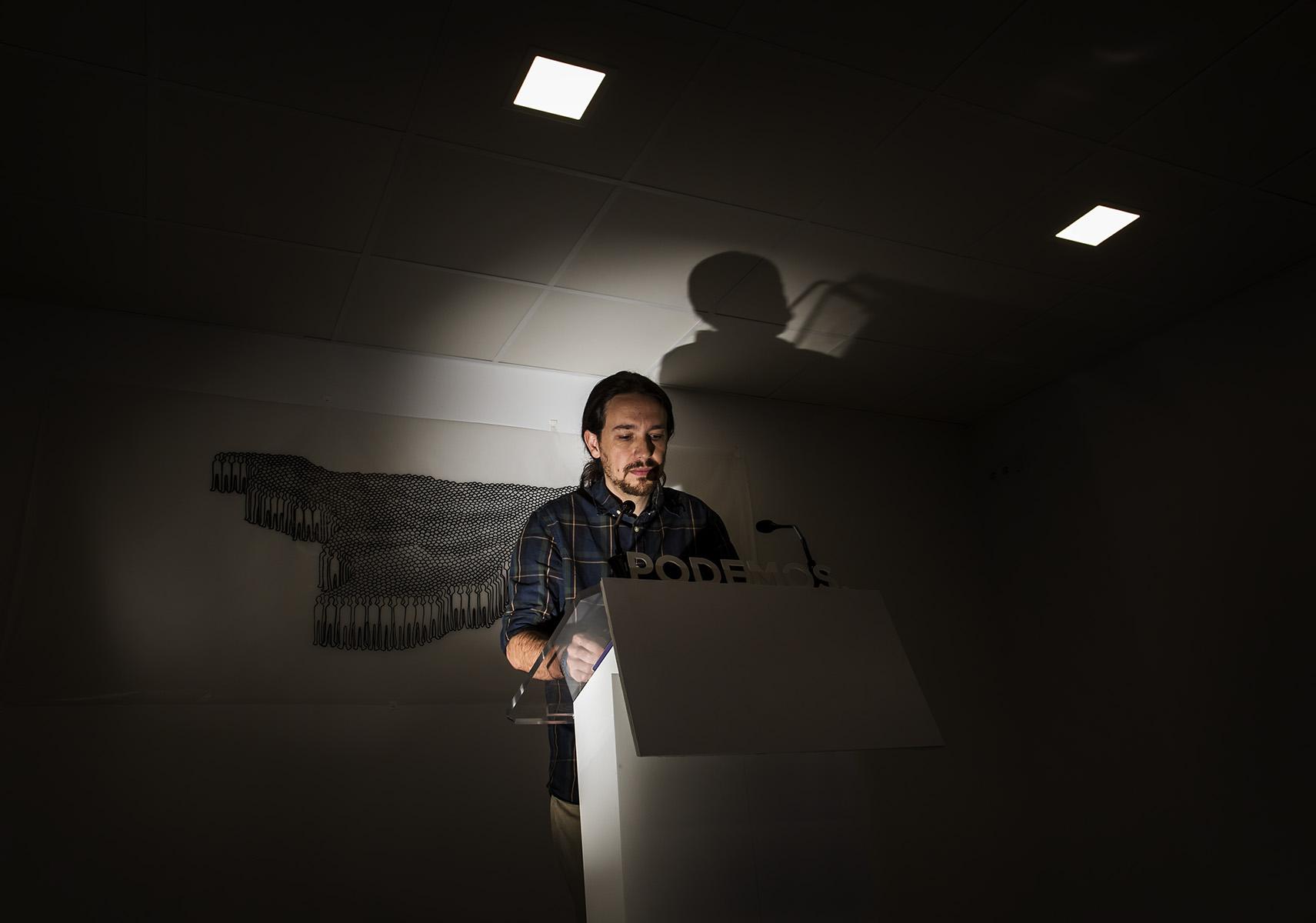 Rueda de Prensa de Pablo Iglesias para valorar los Resultados Electorales de Podemos despues de las Elecciones Municipales 2015© Alberto R. Roldan / La Razon28 05 2015