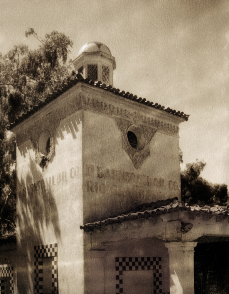42{quote} x 30{quote} photograph - limited to an edition of 10 T55 Polaroid capture - Speed-Graphic 4x5 camera Barnsdall Filling Station - 1929. A classic example of Spanish colonial revival architecture in an era of Santa Barbara civic improvement. Constructed as a show place for the successful Barndall Rio Grande Oil Co. operating along the Santa Barbara coast.