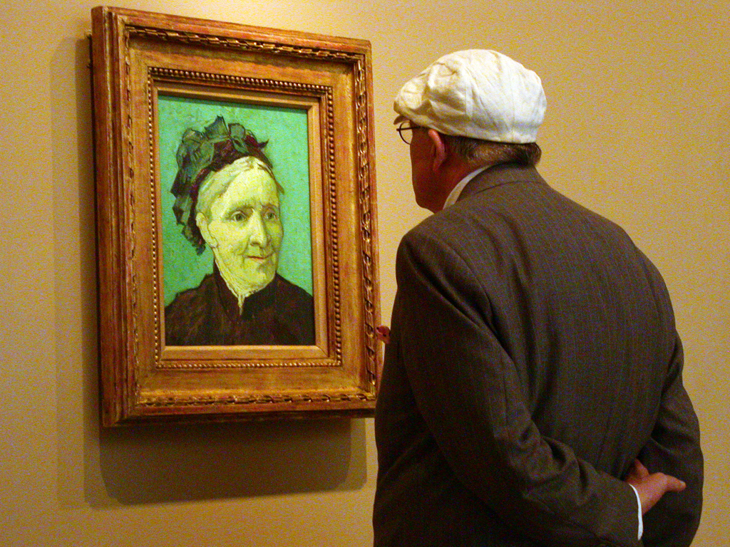 David Hockney reflecting on Vincent Van Gogh's {quote}Portrait of the Artist's Mother.{quote}  The Norton Simon Museum, Pasadena, CA.