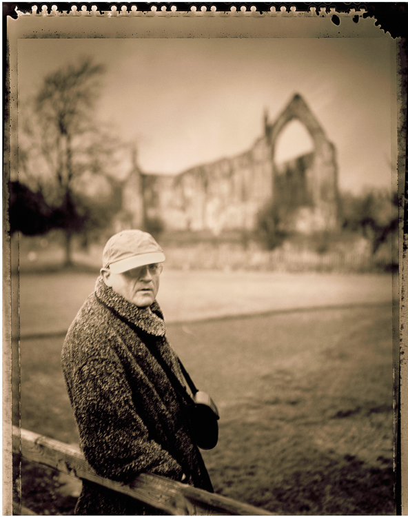 David Hockney and Bolton Abbey in Yorkshire, England - 1997 T55 Polaroid film and Speed Graphic camera. Innova linin print 57 x 44 unique