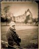 David Hockney and Bolton Abbey in Yorkshire, England - 1997 T55 Polaroid film and Speed Graphic camera. Innova linin print 57 x 44 unique