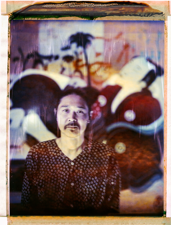 Gajin Fujita in his Echo Park Studio, 2014.  8x10 Polaroid color film photographed with a Deardorff camera.