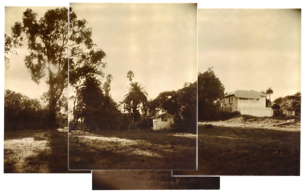 This California style bungaloo was build in the late 1800s as an onsite seaside residence for the hotel's owner.  4x5 film print collage - single panel from 4 Polaroid instant film positives.