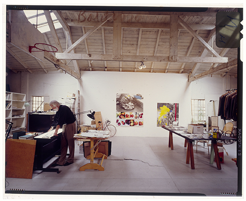 John Baldessari at work in his Ocean Park studio, 1990 Innova Fibre print