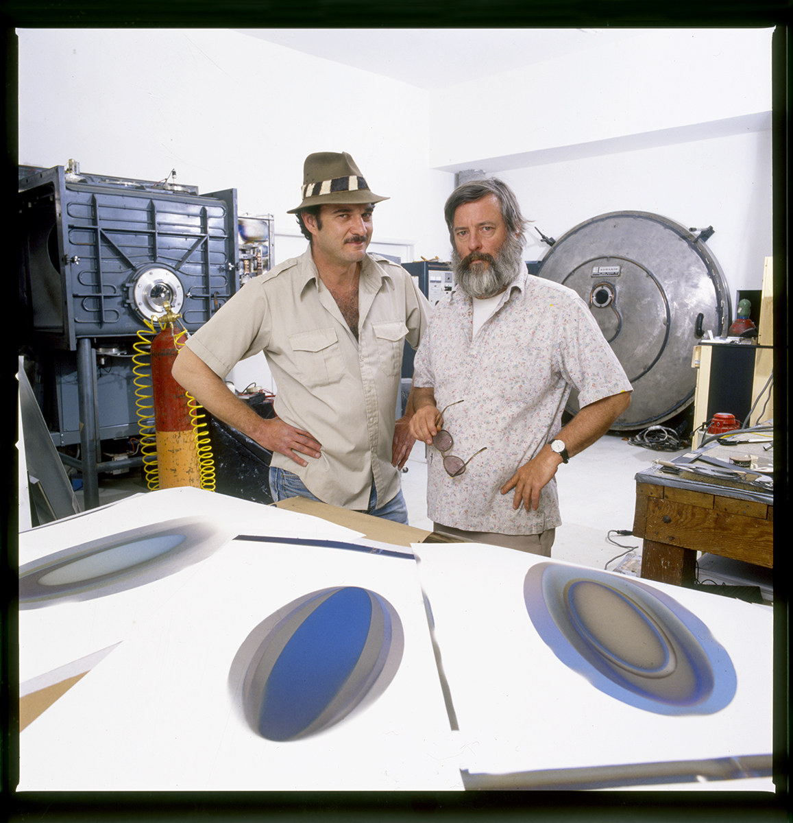 Larry Bell and Kenny Price photographed at Larry Bell's studio in Taos, New Mexico, 1993