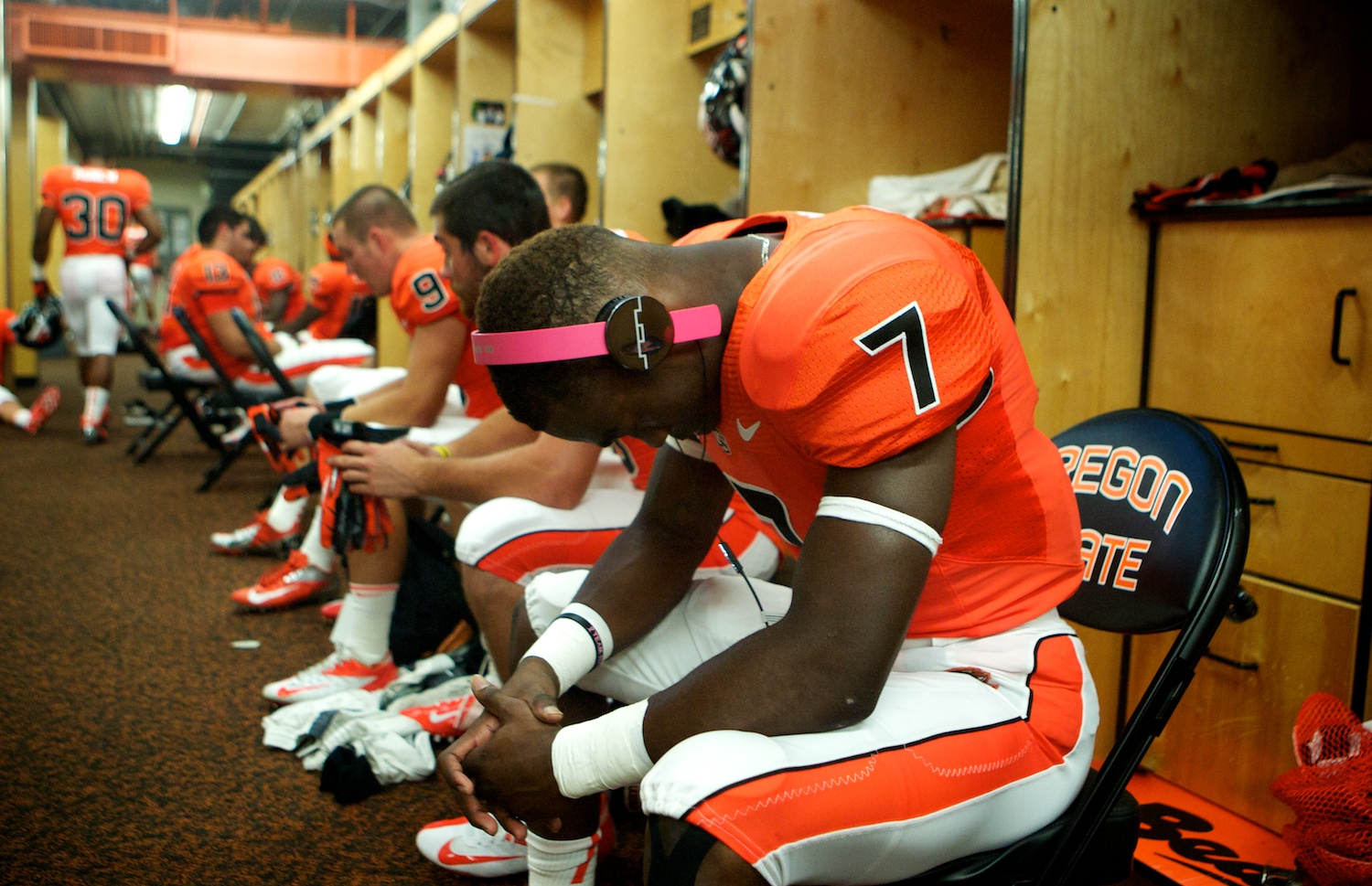 Brandin Cooks (7)  in the locker room before the Beavers take on Wisconsin at Reser Stadium.
