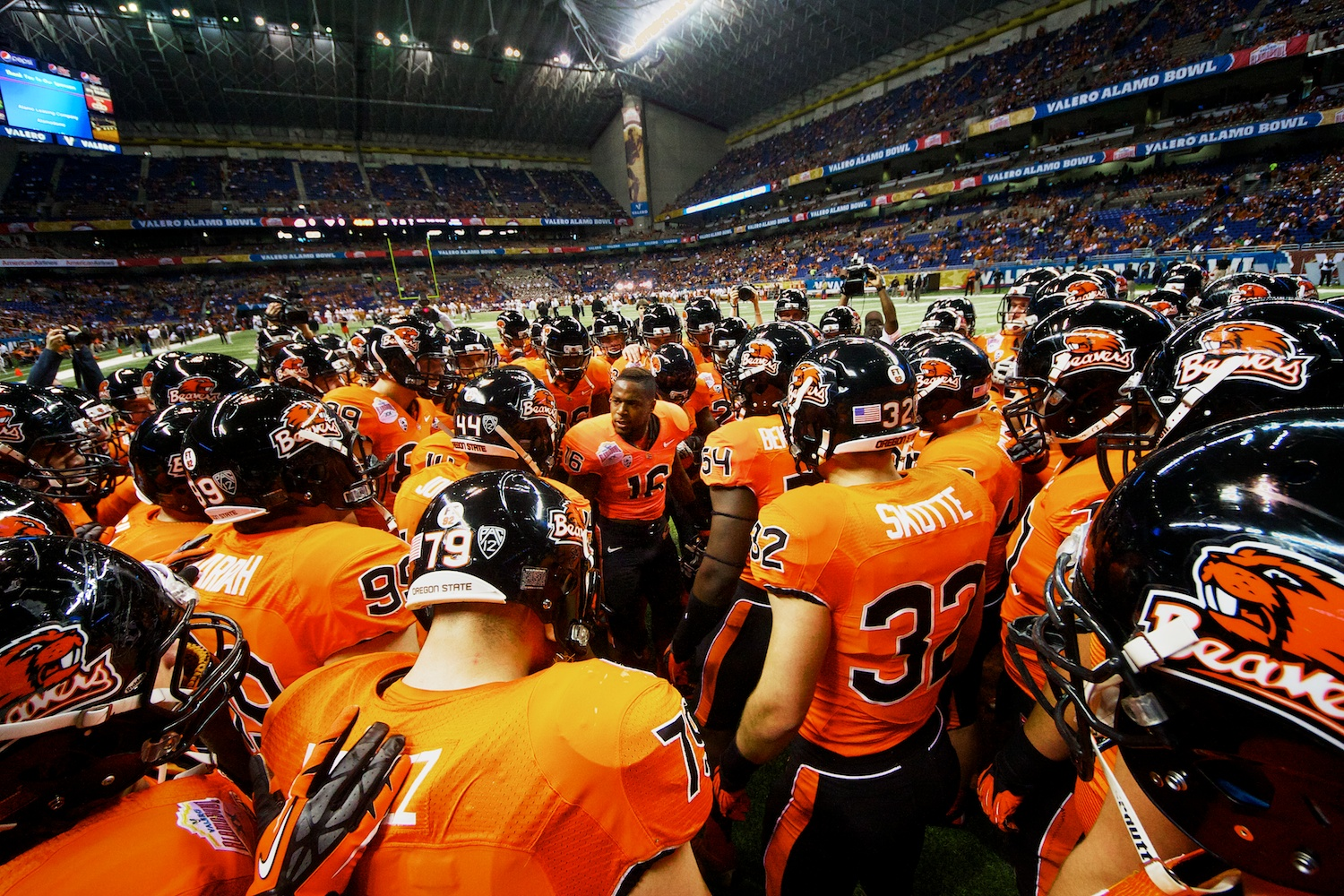 Oregon State players huddle together prior to the start of the Valero Alamo Bowl on December 29, 2012.