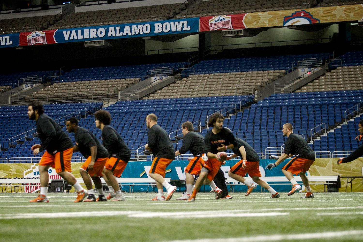 The Oregon State Beavers during their walk-through the day before the Alamo Bowl in San Antonio, Texas.