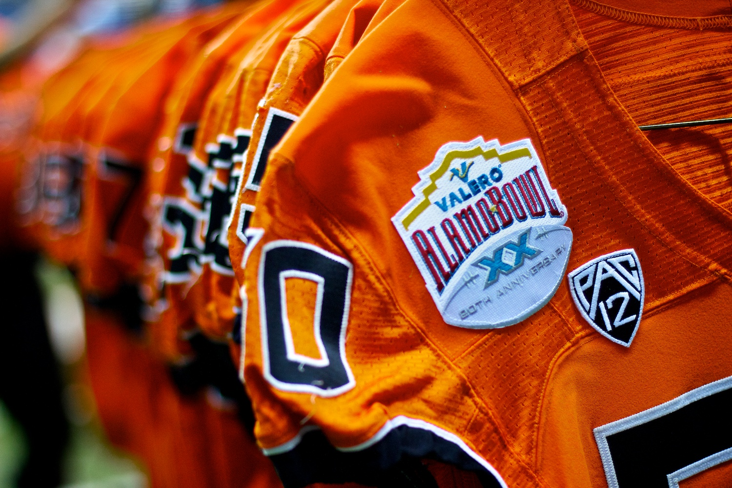 Detail image of the Oregon State Beavers' uniform for the 2012 Alamo Bowl.