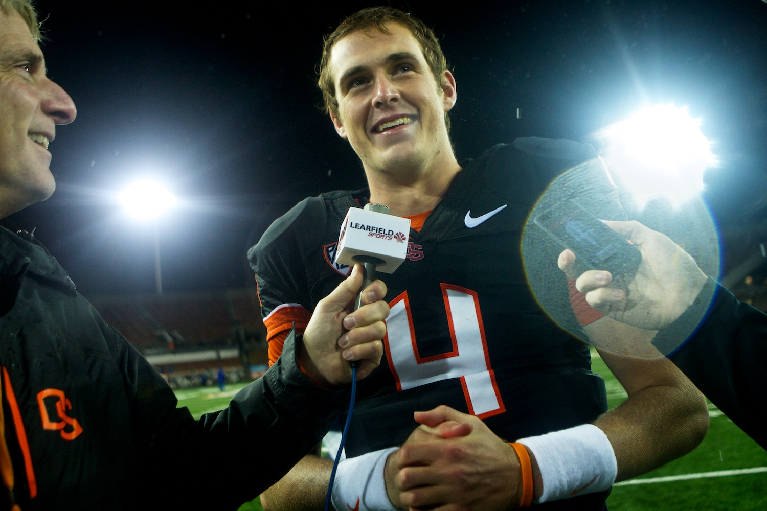 Sean Mannion (4) during an interview following Oregon State's win over the California Golden Bears at Reser Stadium.