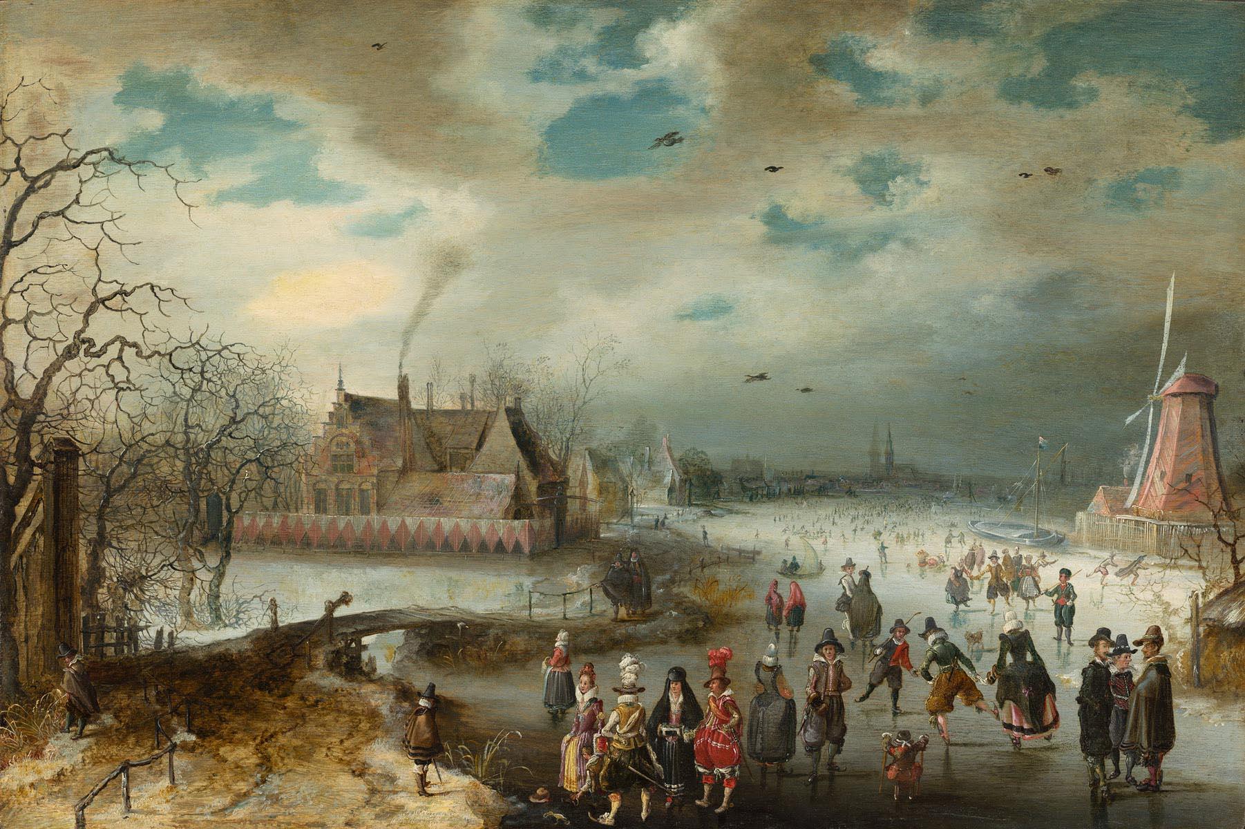 Adam van Breen (Dutch, c. 1585 - 1640 ), Skating on the Frozen Amstel River, 1611, oil on panel, The Lee and Juliet Folger Fund, in honor of Arthur K. Wheelock, Jr.
