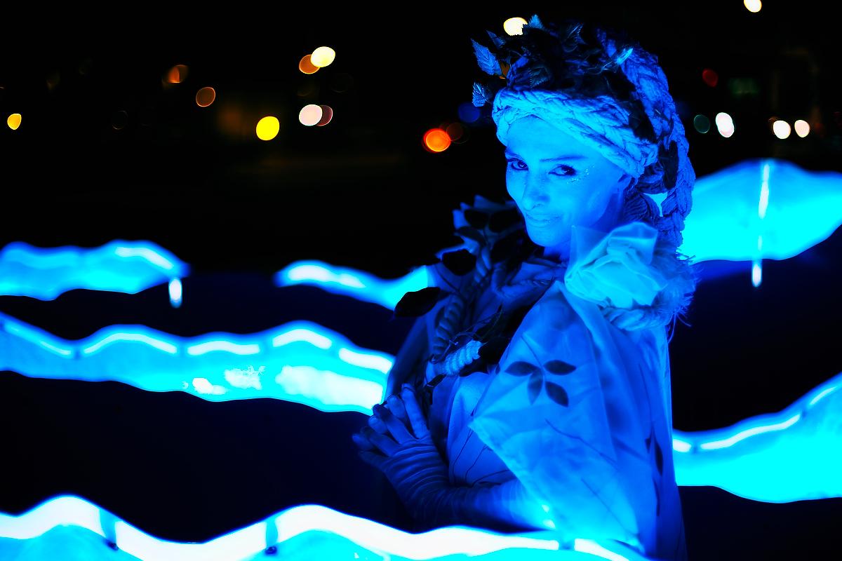 Greek Statue in blue light