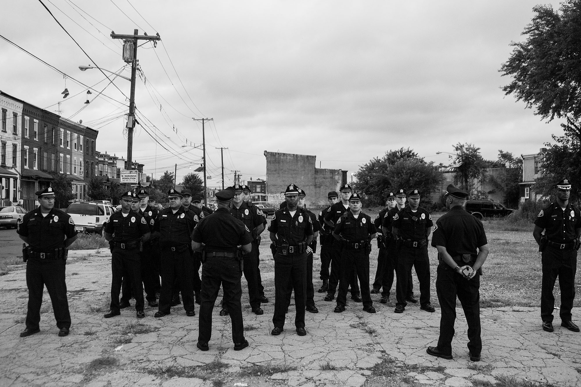 Camden County Police Officers take place in a mobilization in North Camden, one of the most dangerous parts of the city.