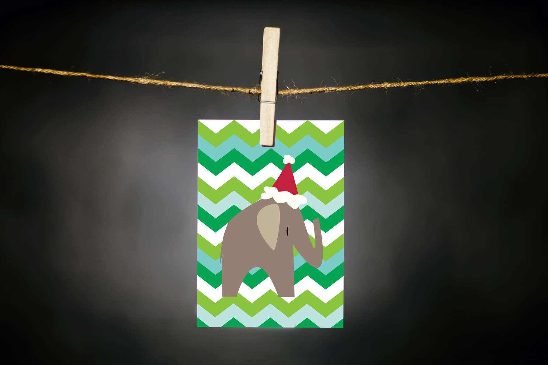 pURCHASE hEREchevrons + an elephant in a santa hat = best holiday card ever!each card:is printed on 100# recycled + responsibly-sourced paper //measures 3.5{quote} x 5{quote} //is accompanied by a recycled kraft paper 4-bar envelope // professionally printed //individually packaged in sealed cellophane sleeve //crafted + printed in colorado, usa.