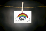 pURCHASE hEREoh yeah... who doesn't love a rainbow?  this little bit of cheeriness is the perfect way to brighten up someone's day.  whether it's your kid sister's birthday or your bestie's new job or your grandmama who's couped up in the nursing home, this gem is multi-purpose piece of snail mail.  why not buy a few to have on hand... occasions such as these are bound to come up!each card: is printed on 100# recycled + responsibly-sourced paper //measures 3.5{quote} x 5{quote} //is accompanied by a recycled kraft paper 4-bar envelope // professionally printed //individually packaged in sealed cellophane sleeve //crafted + printed in colorado, usa.