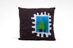 pURCHASE hEREhandmade brown corduroy pillow featuring a hand-stitched stamp made of felt that depicts a couple of trees + some fluffy little clouds.measures approximately 11 x11 inches // hand-sewn in boulder, colorado.
