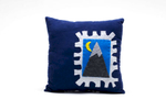 pURCHASE hEREhandmade royal blue corduroy pillow featuring a hand-stitched stamp made of felt. that depicts a mountain + a moon. measures approximately 11 x 11 inches // crafted + hand-sewn in boulder, colorado.