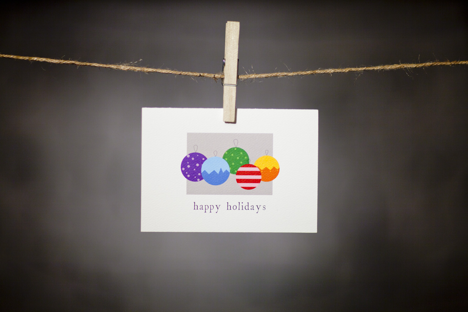 pURCHASE hEREthese colorful ornaments are sure to brighten anyone's holiday season.  share your merriment with this little bit of snail mail.  each card:is printed on 100# recycled + responsibly-sourced paper //measures 3.5{quote} x 5{quote} //is accompanied by a recycled kraft paper 4-bar envelope // professionally printed //individually packaged in sealed cellophane sleeve //crafted + printed in colorado, usa.