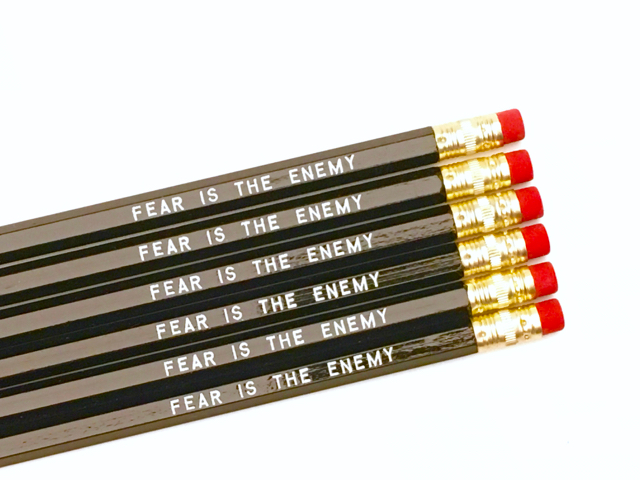 purchase herepsst... fear is the enemy, didn't you know? // be brave, be strong, be confident... you got this, you badass, you!set of six imprinted hexagon pencils // black pencils + white textunsharpened + packaged in a sealed cellophane sleeve (ready for gift giving)fantastic gift idea for teachers + students + anyone, really... especially yourself!