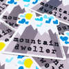 purchase herefun custom stickers // mountain dweller // mountain sticker // die cut sticker // vinyl stickerthese super fun vinyl stickers are the perfect way to customize your world.stick 'em on your favorite notebook or sketchbook, bike or water bottle (they are dishwasher friendly!), car or laptop.each sticker measures 3{quote} x 2.85{quote}made from durable vinyl // laminate coating protects from water, sunlight + scratching