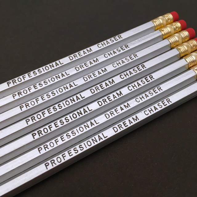 purchase herecalling all dreamers... this pencil set is perfect for all of the professional dream seekers out there!set of six imprinted hexagon pencils // silver pencils + black textunsharpened + packaged in a sealed cellophane sleeve (ready for gift giving)fantastic gift idea for teachers + students + anyone, really... especially yourself!