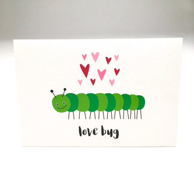 purchase herenothing's sweeter than a love bug.  this little guy is perfect for so many occasions.  the inside has been left blank so that you can customize it any way you choose.                                                                               each card:is printed on 100# recycled + responsibly-sourced paper //measures 3.5{quote} x 5{quote} //is accompanied by a recycled kraft paper 4-bar envelope // professionally printed //individually packaged in sealed cellophane sleeve //crafted + printed in colorado, usa.