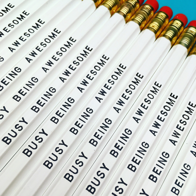 purchase hereif you're going to be busy... why not be busy being awesome!!!this pencil set is perfect for any stationery lover // they are fun, they are witty, and in this fast-paced world that we live in, they are (most likely) oh so very true!set of six imprinted hexagon pencils // white pencils + black textunsharpened + packaged in a sealed cellophane sleeve (ready for gift giving)fantastic gift idea for teachers + students + anyone, really... especially yourself!
