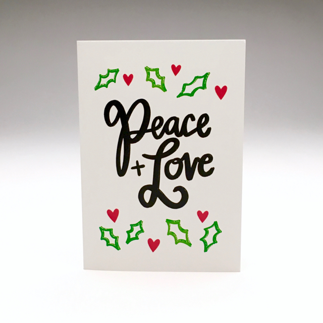 purchase herepeace + love... plain + simple // this brand new holiday card is the perfect little reminder of what this season is really all about // snag yours now while they're still in stock!each card is:printed on 100# recycled + responsibly-sourced paper //measuring 3.5{quote} x 5{quote} //accompanied by a recycled kraft paper 4-bar envelope //professionally printed on a digital press //individually packaged in sealed cellophane sleeve //made with mad love in colorado, usa.