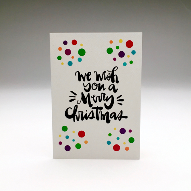 purchase herewe wish you a merry christmas (and all sorts of holiday cheer) // these new holiday cards are hot off the press... snag yours now while they're still in stock!each card is:printed on 100# recycled + responsibly-sourced paper //measuring 3.5{quote} x 5{quote} //accompanied by a recycled kraft 4-bar envelope //professionally printed on a digital press //individually packaged in sealed cellophane sleeve //made with mad love in colorado, usa.