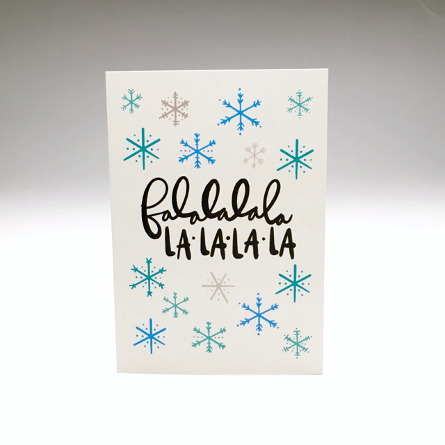 purchase herefalalalala... la la la la // for those of you keepin' it lighthearted this holiday season, this cheery little number might be just the card for you // snag yours now while they're still in stock!each card is:printed on 100# recycled + responsibly-sourced paper //measuring 3.5{quote} x 5{quote} //accompanied by a recycled kraft paper 4-bar envelope //professionally printed on a digital press //individually packaged in sealed cellophane sleeve //made with mad love in colorado, usa.