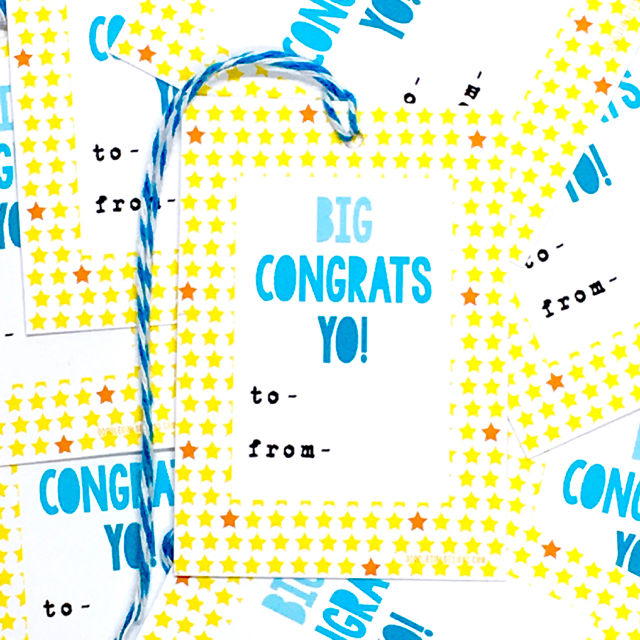 purchase herebig congrats yo! these super fun, bright + cheery gift tags are perfect for all sorts of occasions... housewarmings, graduations, new jobs, divorces, new babies... anything + everything, really.set of 8 gift tags:-measure approximately 2{quote} x 3{quote} each-are printed on 61 lb bright white card stock-includes coordinating baker's twine-come packaged in an enclosed cello sleeve------------crafted + printed in colorado, usa.