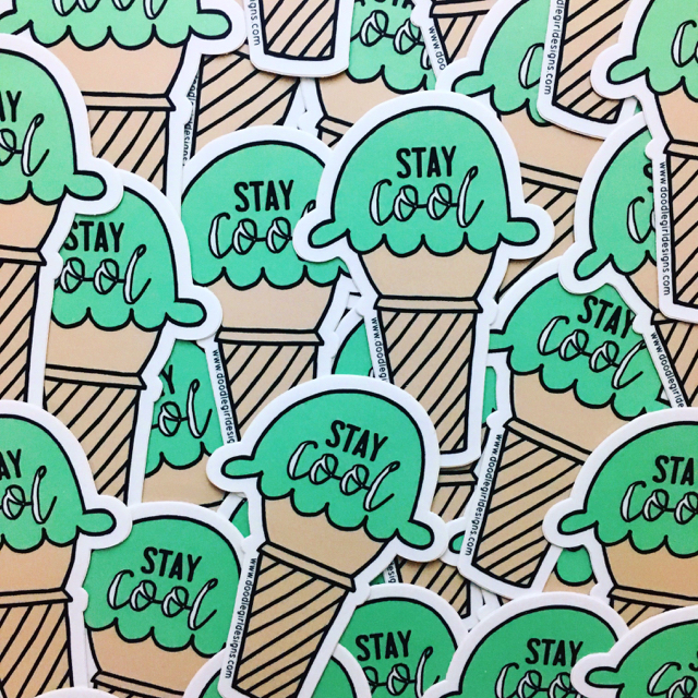 purchase herethese super fun vinyl stickers are the perfect way to customize your stuff.stick 'em on your favorite notebook or sketchbook, water bottle or bike, car or laptop.each sticker measures 2.42{quote} x 3.5{quote}made from durable vinyl // laminate coating protects from water, sunlight + scratching