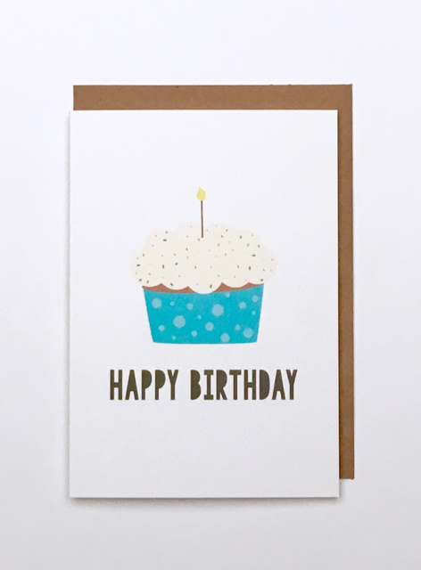 pURCHASE hEREneed to send some birthday cheer?  why not let this sweet little cupcake help you out.each card:is printed on 100# recycled + responsibly-sourced paper //measures 3.5{quote} x 5{quote} //is accompanied by a recycled kraft paper 4-bar envelope //professionally printed //individually packaged in sealed cellophane sleeve //crafted + printed in colorado, usa.