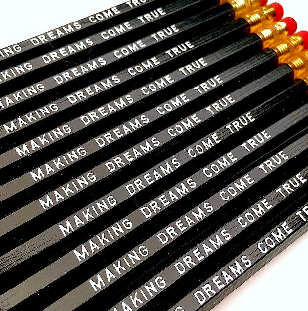 purchase heremaking dreams come true // this inspirational pencil set is perfect for anyone working hard to make their dreams a reality // if you're an artist or an entrepreneur or even a professional student... these pencils are for you!set of six imprinted hexagon pencils // black pencils + white textunsharpened + packaged in a sealed cellophane sleeve (ready for gift giving)fantastic gift idea for teachers + students + anyone, really... especially yourself!