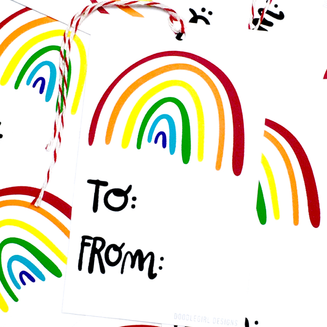 purchase herewho doesn't love a rainbow?? these super fun new gift tags are are an easy way to snazz up any gift!set of 8 gift tags:-measure approximately 2{quote} x 3.5{quote} each-are printed on 61 lb bright white card stock-includes coordinating baker's twine-come packaged in an enclosed cello sleeve------------crafted + printed in colorado, usa.
