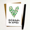 purchase herewho are you hoping to meet under the mistletoe?? // this brand new super cute holiday card is the perfect way to snag that kiss, yo // get yours while they're still in stock!each card is:printed on 100# recycled + responsibly-sourced paper //measuring 3.5{quote} x 5{quote} //accompanied by a recycled kraft paper 4-bar envelope //professionally printed on a digital press //individually packaged in sealed cellophane sleeve //made with mad love in colorado, usa.
