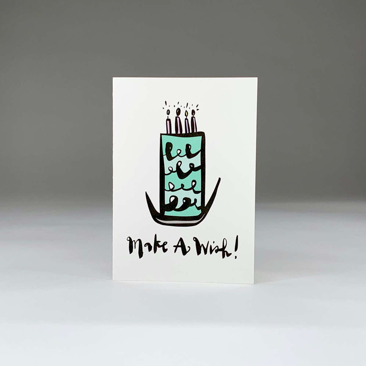purchase herepressure's on... make a wish. whether they are celebrating their 6th birthday or their 106th birthday, this super fun card is a great choice!each card:is printed on 100# recycled + responsibly-sourced paper //measures 3.5{quote} x 5{quote} //is accompanied by a recycled kraft paper 4-bar envelope //professionally printed //individually packaged in sealed cellophane sleeve //---------------------crafted + printed in colorado, usa.