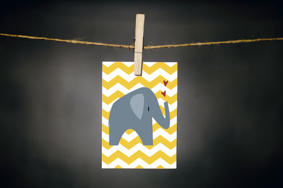 pURCHASE hEREchevrons + elephants... what a fantastic pair!  this greeting is bright + cheery and overall a very sweet card.  the inside has been left blank, making it the perfect choice for any occasion.  regardless of why you choose to send it, it's sure to bring a smile to someone's face!each card:is printed on 100# recycled + responsibly-sourced paper //measures 3.5{quote} x 5{quote} //is accompanied by a recycled kraft paper 4-bar envelope // professionally printed //individually packaged in sealed cellophane sleeve //crafted + printed in colorado, usa.