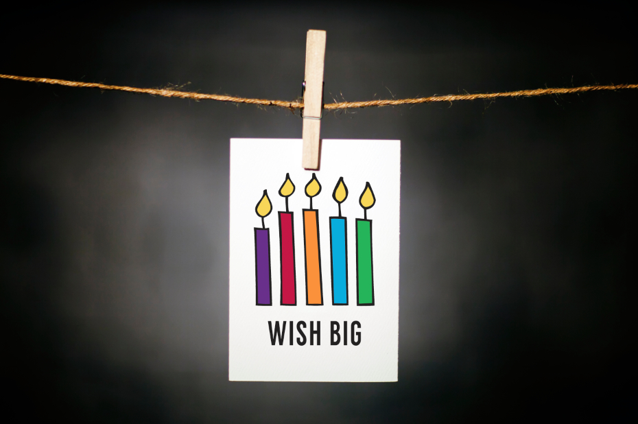 pURCHASE hEREbirthdays are the best days to celebrate.  while spreading a little birthday cheer, why not remind someone to wish big this year!each card: is printed on 100# recycled + responsibly-sourced paper //measures 3.5{quote} x 5{quote} //is accompanied by a recycled kraft paper 4-bar envelope // professionally printed //individually packaged in sealed cellophane sleeve //crafted + printed in colorado, usa.