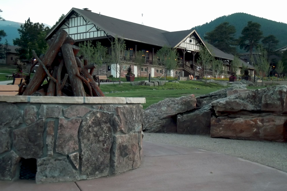 Fire pit on the promenade at the YMCA of the Rockies Estes Park Center