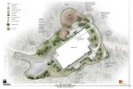 Rendered plan of the dining hall and outdoor gathering areas