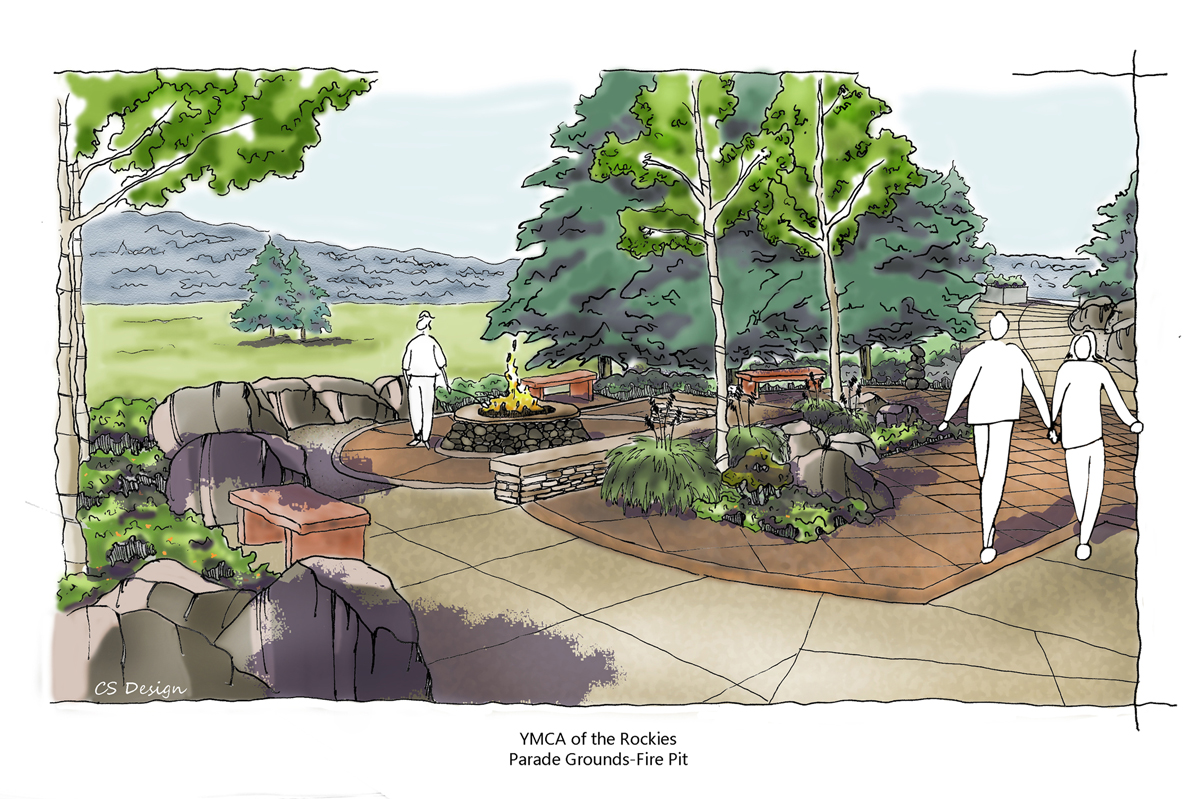 Rendered perspective drawing of the fire pit on the promenade