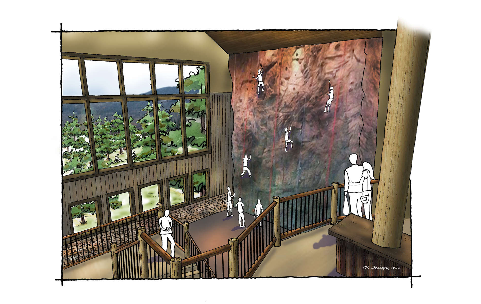 YMCA Mountain Center Interior rendered perspective