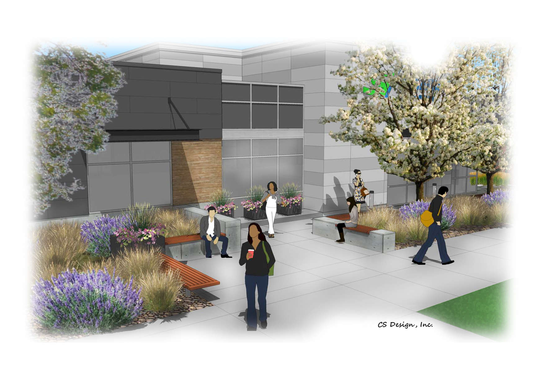 Pedestrian Gathering Space at Elevations Credit Union Midtown Fort Collins