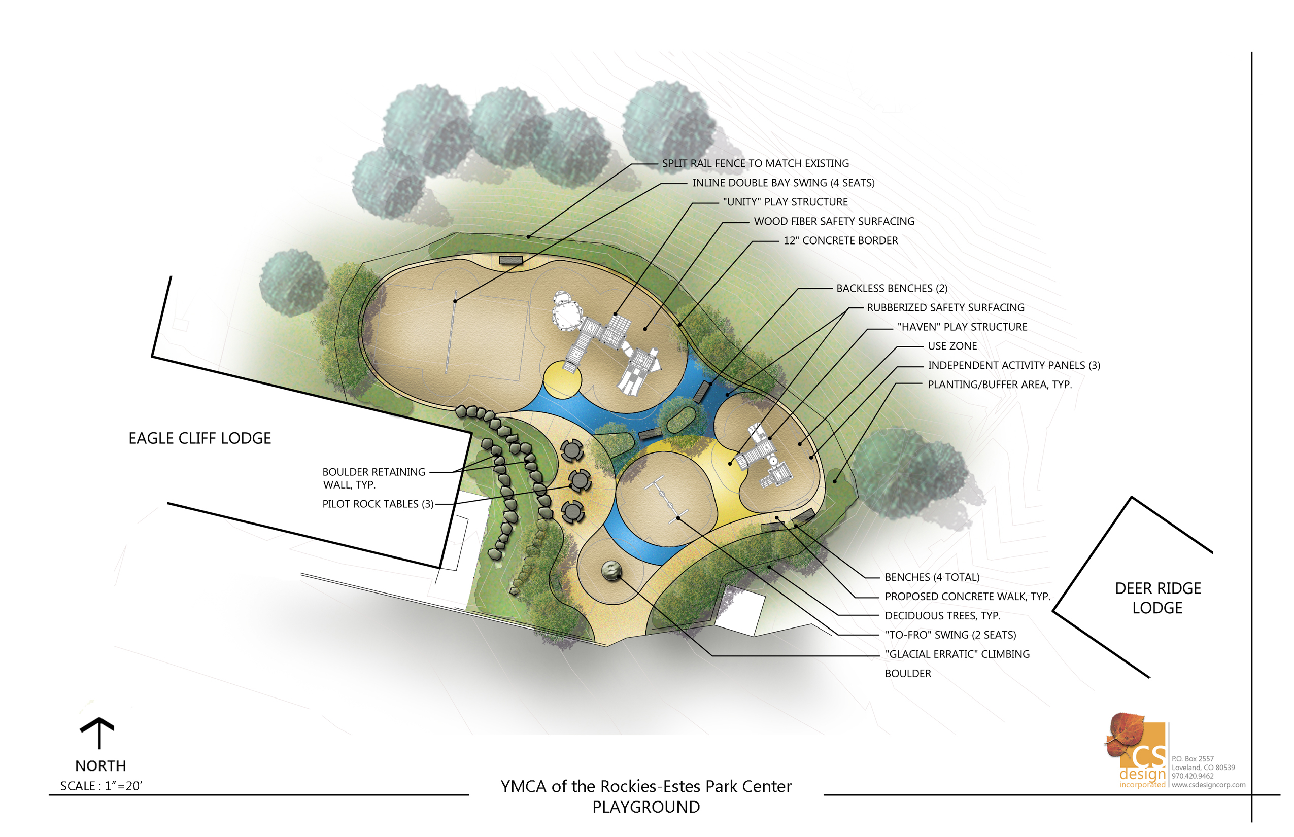 Rendered plan of the playground