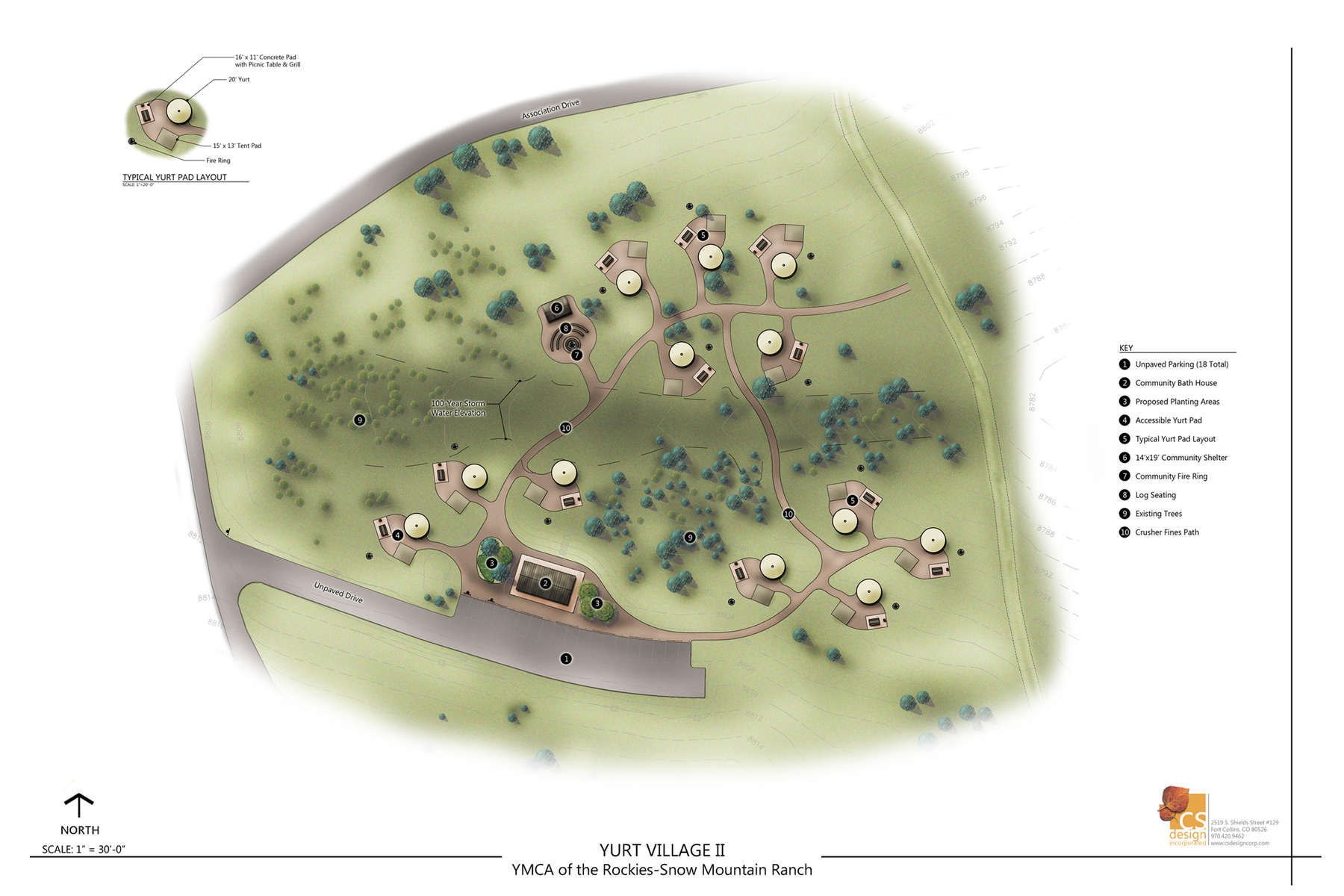 Rendered site plan of the Yurt Village