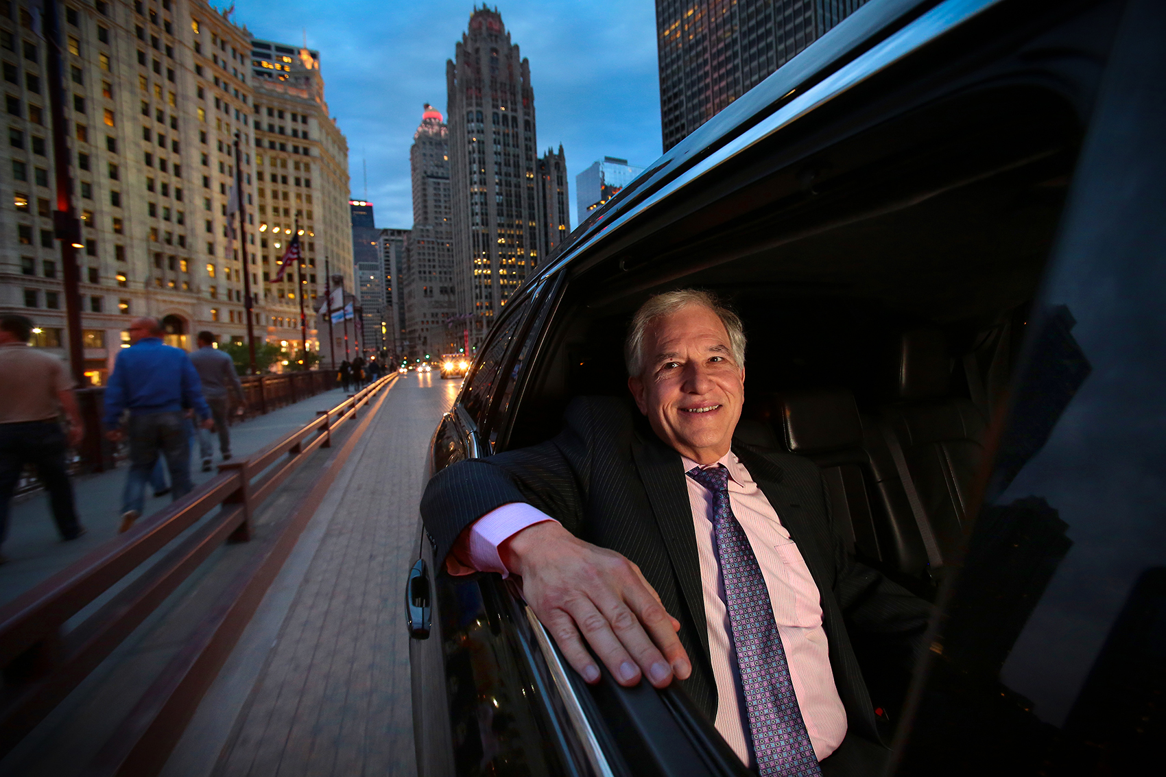 <p>George Jacobs, CEO of Windy City Limosine, poses for a photo in Downtown Chicago, on May 19, 2014. Manuel Martinez/Crain's Chicago Business</p>