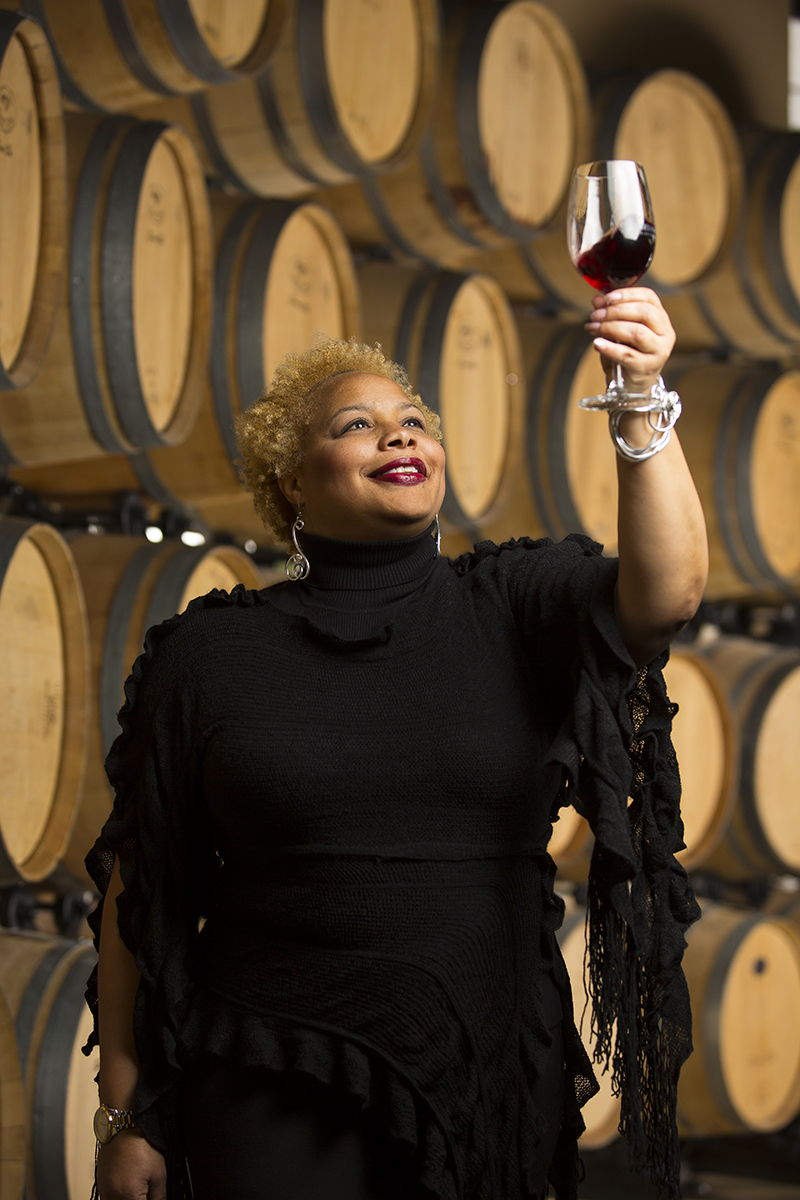 Deidre McGraw, 49, a member of the Cooper Hawk wine club, poses for a photo in the tasting room at their Orland Park location on December 8, 2015.  Manuel Martinez/ Crains Chicago Business